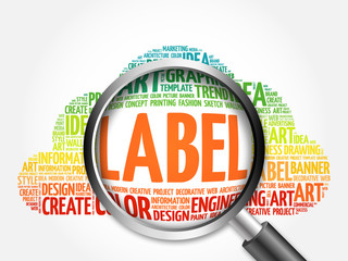 LABEL word cloud with magnifying glass, business concept