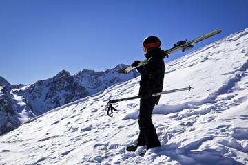 Young man enjoying winter sport in Solden, Austria