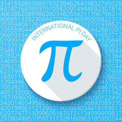 Pi sign with a shadow on a blue background. Mathematical constant, irrational number, greek letter. Abstract digital vector illustration for a Pi Day.