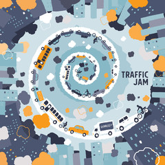 Car traffic jam concept - freehand drawing vector Illustration
