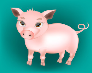 Very beautiful baby pig. Vector 3D