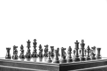 chess pawns lined up on the board on white background