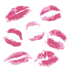 Print of volume pink lips. Set of vector illustration on a white background. Romantic illustration for a wedding, print, celebration, holiday, invitations, web. EPS 10, no effects, 3 colors