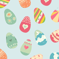 Background of color Easter eggs. drawing by hand vector and digi