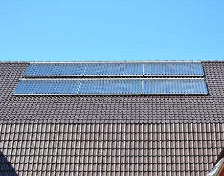 Close up on Solar panels. Solar Water Panels Heating.