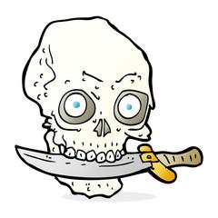 cartoon pirate skull with knife in teeth