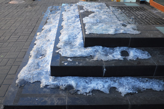 Close up on Ice Covered Slippery Stair Case.