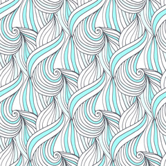 Abstract blue waves vector seamless pattern. Doodle repeating background. For textile or packaging design.