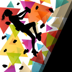 Children girl silhouettes on climbing wall in active and healthy