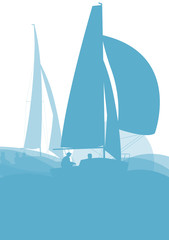 Sailing ship yacht in sunrise vector background abstract