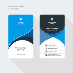Modern Creative and Clean Two Sided Business Card Template. Flat Style Vector Illustration. Vertical Visiting or Business Card T