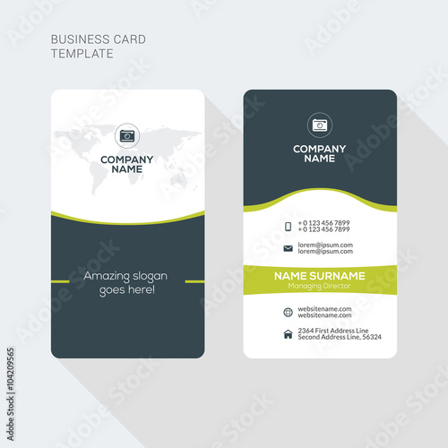 Modern creative and clean two sided business card template flat modern creative and clean two sided business card template flat style vector illustration vertical accmission Gallery