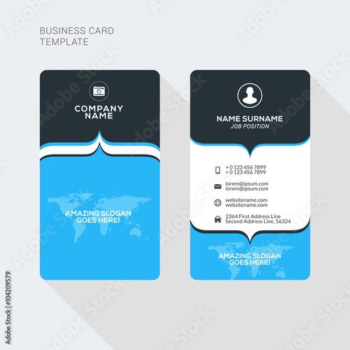 Modern creative and clean two sided business card template flat modern creative and clean two sided business card template flat style vector illustration vertical wajeb Choice Image