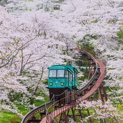 Slope car at Funaoka Castle Ruin Park,Sendai,Japan