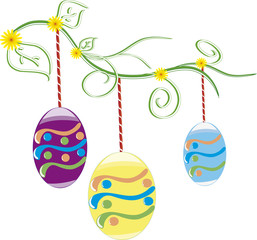 Beautiful Easter Background  with colorful Easter eggs  in the young green grass.