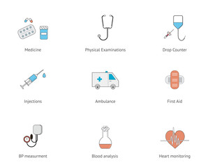 Flat line medical icon set. Drop counter, sthetoscope, blood pressure measurment, first aid and pills icons