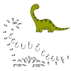 Connect the dots to draw a cute dinosaur and color it