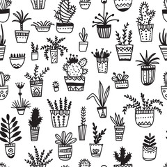 Foto auf AluDibond Boho-Stil Vector seamless pattern with ethnic tribal style hand-drawn hous