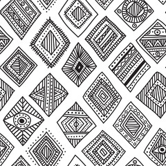 Vector seamless pattern with hand-drawn ethnic tribal style rhom