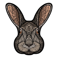 Vector drawing head of a rabbit, hare