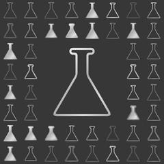 Silver line chemistry icon design set