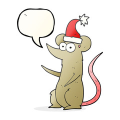speech bubble cartoon mouse wearing christmas hat