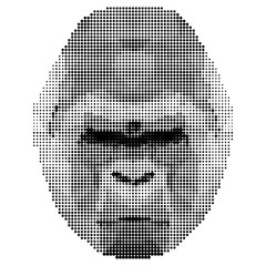 abstract monochrome gorilla portrait of circles isolated on white