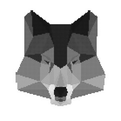 abstract monochrome wolf portrait isolated on white background
