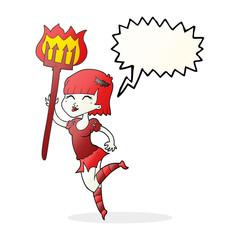 speech bubble cartoon devil girl