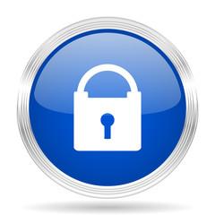 padlock blue silver metallic metallic chrome web circle glossy icon
