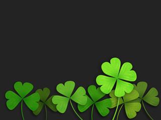 Shamrock leaf clover black background