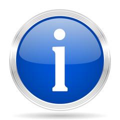 information blue silver metallic metallic chrome web circle glossy icon