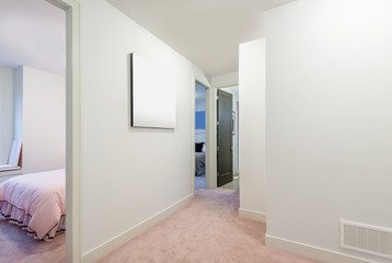View, Perspective of an empty corridor with railings and stair. Interior design.