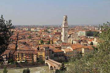 Panoramic view of Verona, Italy.