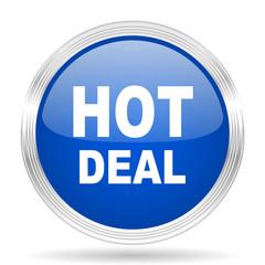 hot deal blue silver metallic metallic chrome web circle glossy icon