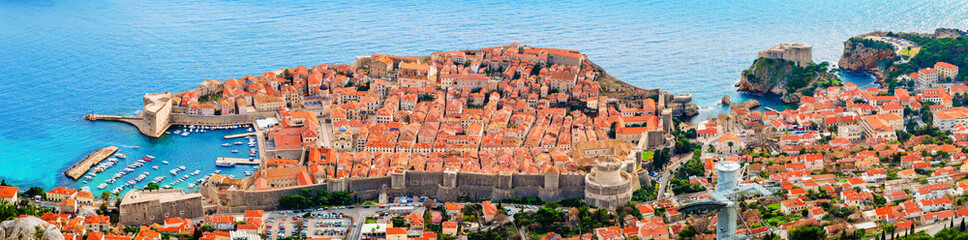View from above and distance of Dubrovnik old city and surrounding sea and islands