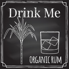 Drink me. Elements on the theme of the restaurant business.  Cha