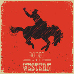 Western Cowboy riding wild horse.Western poster on red paper