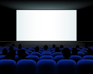 Cinema auditorium with seats, peoples and blank screen