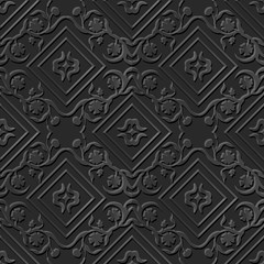 Seamless 3D elegant dark paper art pattern 045 Square Flower Vine