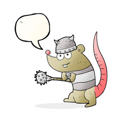 speech bubble cartoon rat warrior
