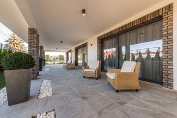 Armchairs on open terrace