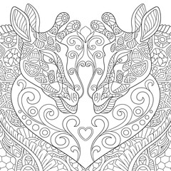 Zentangle stylized two cartoon lovely giraffes with a heart. Sketch for adult antistress coloring page. Hand drawn doodle, zentangle, floral design elements for coloring book.