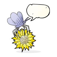 speech bubble cartoon butterfly on flower