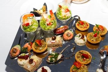 Buffet reception shrimp coctail serving.