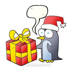 speech bubble cartoon christmas penguin with present