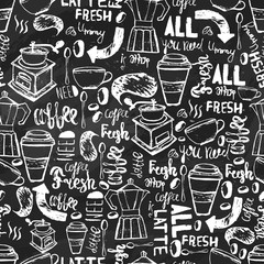 Seamless hand-drawn coffee  seamless pattern.  Coffee pattern with lettering. Vector Coffee pattern  on dark background for wrapping, banners.
