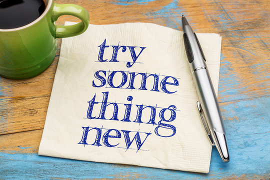 Try something new - text on napkin