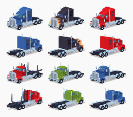 Collection of heavy trucks. 3D lowpoly isometric vector illustration. The set of objects isolated against the white background and shown from two sides