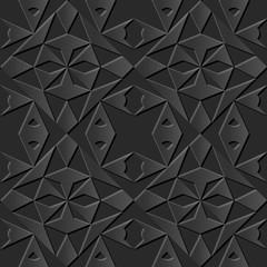 Seamless 3D elegant dark paper art pattern 057 Polygon Triangle Geometry